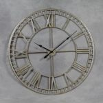 Huge Industrial Style Silver Skeleton Wall Clock Roman Numerals 120cm